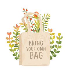 bring your own bag poster use reusable vector image