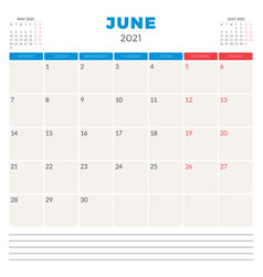 Calendar planner for june 2021 week starts on vector