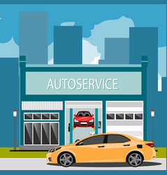 Car repair maintenance auto service station with vector
