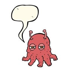 Cartoon alien face with speech bubble vector