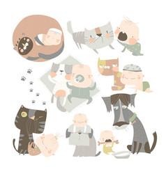 Cartoon happy baby with his funny pets vector