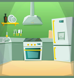 cartoon pictures of kitchen interior with vector image