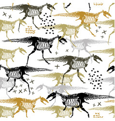 Childish seamless pattern with dinosaurs vector