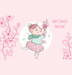 chinese new year 2019 pig with sakura flower vector image