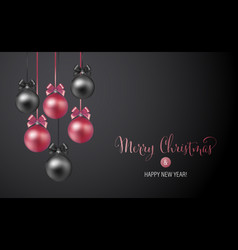 Christmas background with rose and black evening vector