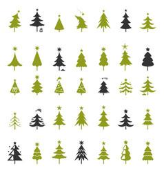 christmas tree silhouette design greetings set vector image