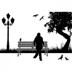 city park scene vector image