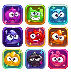 Colorful app icons with funny jelly characters vector
