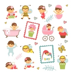 Colorful collection of adorable babies vector image