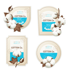 Cotton emblem package icon set vector
