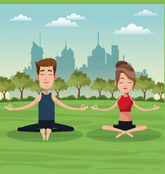 Couple yoga lotus park vector
