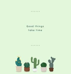 Cute cactus pot template for social media story vector