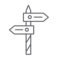 Direction thin line icon way and guidepost vector