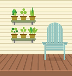 Empty Chair On Wood Wall And Ground With Pot vector image
