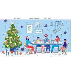 Family christmas or new year joint dinner at home vector