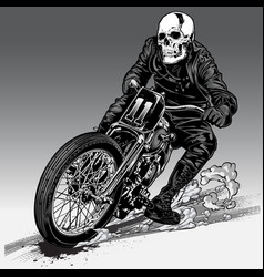 Fast riding motorcycle chopper vintage vector