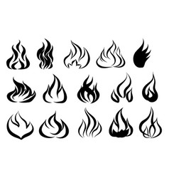 fire tattoo fire flames tattoo set vector image