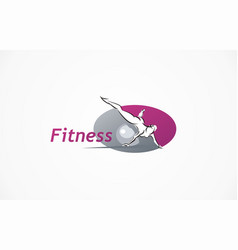 fitness club logo gym exercising woman vector image