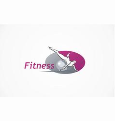 Fitness club logo gym exercising woman vector
