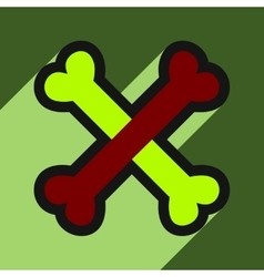 Flat with shadow icon cross bones stacked vector
