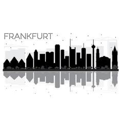 Frankfurt city skyline black and white silhouette vector