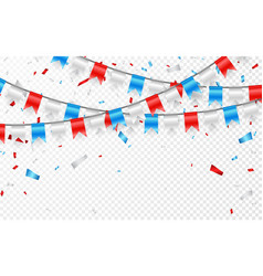 Garlands of red white blue flags blue white and vector