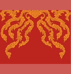 Gold art pattern on a red vector