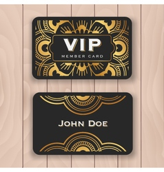 Golden mandala VIP access card vector