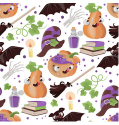 halloween broom pumpkin flat design seamless vector image