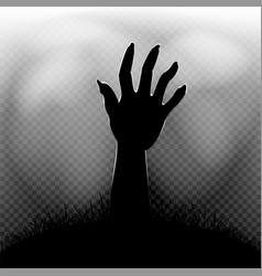 Halloween zombie hand in transparent dark vector