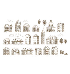 Hand drawn historic buildings set vintage sketch vector
