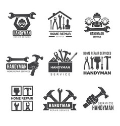 Handyman logo worker with equipment servicing vector