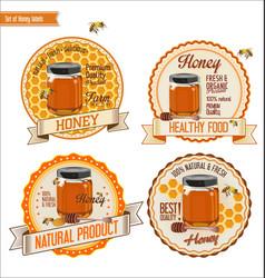 honey retro vintage labels vector image