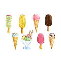 Ice cream set with watercolor summer dessert vector