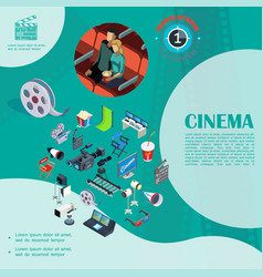 isometric cinema colorful template vector image