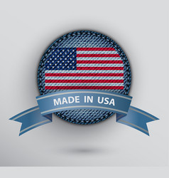 jeans circle badge with usa flag vector image
