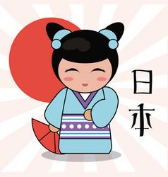 kokeshi doll decorative image vector image