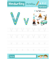 Letter v uppercase and lowercase tracing practice vector