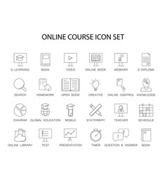 line icons set online course pack vector image