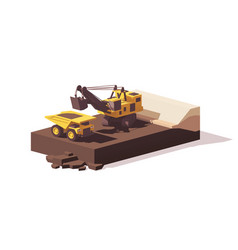 low poly power shovel and haul truck vector image