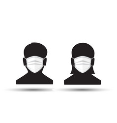Man and woman in medical face protection mask vector