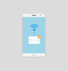 mobile email alert on smartphone screen vector image