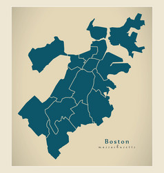 Modern city map - boston massachusetts city of vector
