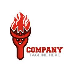 Modern fork demon mascot logo vector