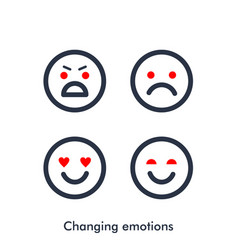 Moody icon changing emoticons silhouette vector