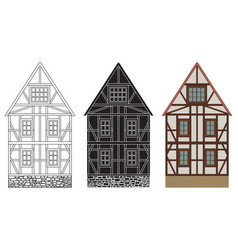 old german house with wooden beams hand drawing vector image