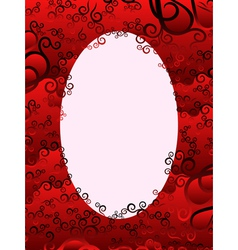Oval frame with floral elements in red hues vector