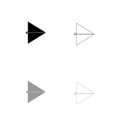 paper airplane black and grey set icon vector image