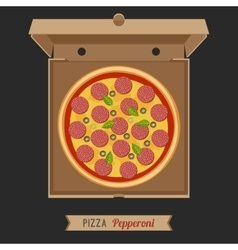 Pizza in the opened cardboard box vector