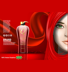 premium shampoo ads with beautiful girl in red vector image